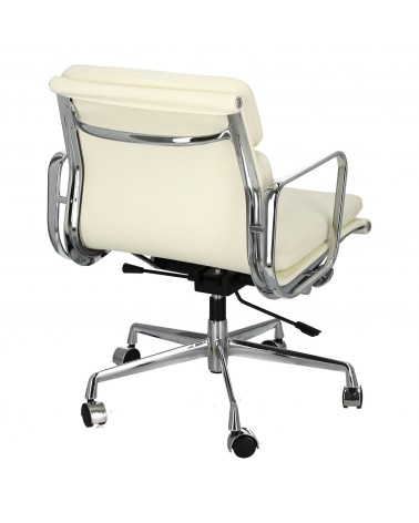 Fotel biurowy CH2171T biała skóra chrom